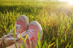 Sneakers In Grass Royalty Free Stock Photo