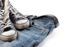 Sneakers and jeans Royalty Free Stock Photos