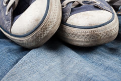 Sneakers and jeans Royalty Free Stock Images