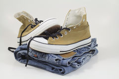 Sneakers and jeans Royalty Free Stock Image