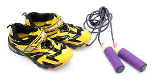 Sneakers and jumping rope Stock Image