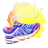 Sneakers with laces of blue-violet color on a yellow spot painted with watercolor on a white background Royalty Free Stock Images