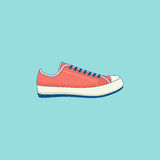 Sneakers line flat icon. Sneakers - design element of tourist trip, hiking equipment, education, walking. Line flat icon with grunge texture. Trendy modern color Royalty Free Stock Images
