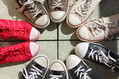 Sneakers. Old sneakers in the circle Royalty Free Stock Photo