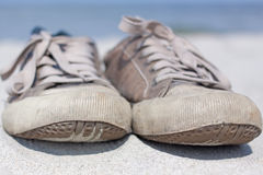 Sneakers old. Old sneakers close up outdoor Royalty Free Stock Photography