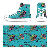 Sneakers with seamless floral pattern. Ethnic style Royalty Free Stock Photos