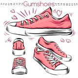 Sneakers. Set from different angles. Beautiful drawings vector illustration