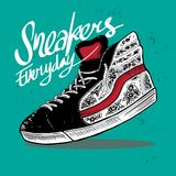 Sneakers shoe hand drawn illustration royalty free illustration