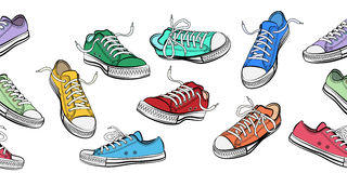 Sneakers shoes horizontal seamless pattern Royalty Free Stock Photos