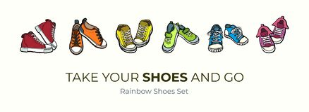 Sneakers shoes pairs isolated. Hand drawn vector illustration set of colored shoes. Sport boots hand drawn for logo, poster stock illustration