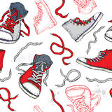 Sneakers. Shoes Seamless pattern. Royalty Free Stock Image