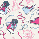 Sneakers. Shoes Seamless pattern. Royalty Free Stock Photography