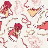 Sneakers. Shoes Seamless pattern. Royalty Free Stock Photos