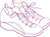 Sneakers Sketch. Sketching of a pair of sneakers in purple lines Royalty Free Stock Photo