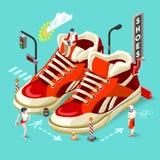 Sneakers sklepu ludzie Isometric ilustracja wektor