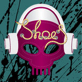 Sneakers skull. Sneakers in the form of a skull with headphones. the word shoes in the ideal strap stock illustration