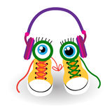 Sneakers Sport Training Shoes Foot Wear With Eyes Headphones. Flat Vector Illusatration Royalty Free Stock Images