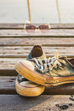 Sneakers are stacked Royalty Free Stock Photo