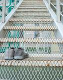 Sneakers  on the stairs. Making first step. Royalty Free Stock Image