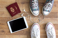 Sneakers with things for travel Stock Photography