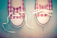 Sneakers. Top view of shoes with laces Royalty Free Stock Photo