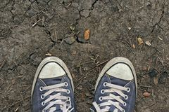 Sneakers, top view. Sport sneakers from an aerial view on cracked ground, Blue shoes, Top view royalty free stock photo