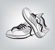 Sneakers vector hand drawn Royalty Free Stock Photography