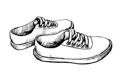 Sneakers vector sketch. Sneakers for casual walking vector sketch. Fashionable and comfortable sports shoes vector illustration