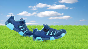 Sneakers walking by themselves Royalty Free Stock Photography
