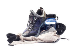 Sneakers with water bottle Stock Images