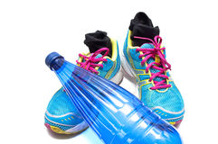 Sneakers and water bottle Stock Image