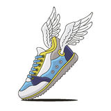 Sneakers with wings Royalty Free Stock Photography