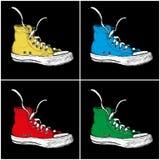 Sneakers z skrzydłami odizolowywającymi na białym tle, ilustracja wektor