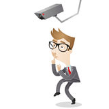 Sneaking businessman surveillance camera Royalty Free Stock Photography