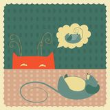 Sneaking cat looking at mouse. Vector cat sneaks up on a sleeping mouse Royalty Free Stock Photos