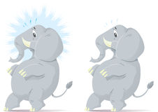Sneaking, nervous elephant. Sneaking and nervous elephant, trying to tip toe Royalty Free Stock Photography
