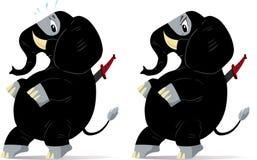 Sneaking, nervous ninja Elephant. Sneaking and nervous ninja Elephants, one scared and one angry Stock Photos