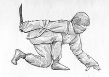 Sneaking ninja - pencil sketch. Hand drawn pencil sketch of a sneaking ninja wearing black clothes, a mask, and holding a knife ready Stock Image