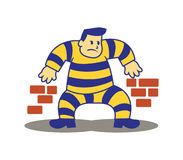 Sneaking Prisoner. A vector illustration of escaping prisoner from the jail. Sneaking along the wall Royalty Free Stock Images