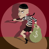 Sneaking robber illustration Stock Images