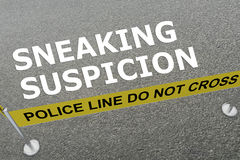 Sneaking Suspicion concept. 3D illustration of SNEAKING SUSPICION title on the ground in a police arena Stock Image