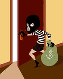 Sneaking thief with mask. Sneaking thief character with mask Stock Photo