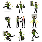 Sneaking thiefs set, burglars committing crimes vector Illustrations Stock Images