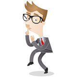 Sneaking and tiptoeing businessman. Vector illustration of a sneaking and tiptoeing cartoon businessman with his finger on his lips Stock Image