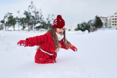 She sneaks through  thick snow blockage. She sneaks through the thick snow blockage Stock Photography
