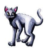 Sneaky кот серого цвета акварели иллюстрация вектора