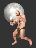 Sneaky Bald Man Quiet Silent Night Illustration Royalty Free Stock Images