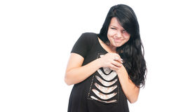 Sneaky and bully girl. Sneaky and bully teen girl rubbing hands together isolated on white background Stock Photos