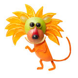 Sneaky lion made of orange. On isolated background Stock Photography
