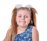 Sneaky little girl. Looking straight isolated on white Royalty Free Stock Image